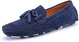 L.W.SURL Mocasines de conducción Ocasionales de los Hombres Borla Decoración Mocasines de Cuero Genuino Mocasines Zapatos Ligero (Color : Azul, tamaño : 24.5)