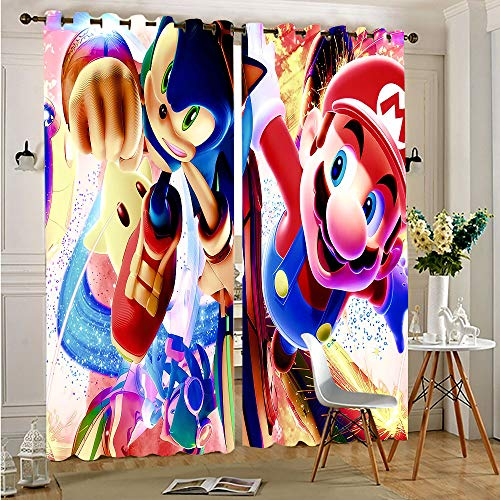 """sashimii S-uper-M-Ario Bros Characters VS Sonic Blackout Curtains and Drapes Blackout Thermal Insulated Liner Keep Warm Draperies, Sliding Door Drapes for Bedroom 52""""x63""""Inch"""