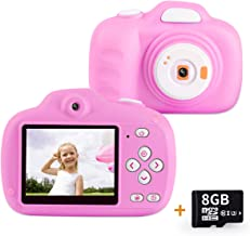 AIDISITE Kids Camera Gifts for 3-12 Year Old Girls HD 12.0MP 2.3'' Screen Video Camera for Kids Soft Anti-Drop Children Toy Camera Mini Camcorder with 1000mAh Battery (8G TF Card Included, Pink)