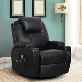 Esright Massage Recliner PU Leather Ergonomic Lounge Heated Chair 360 Degree Swivel Recliner (Black)