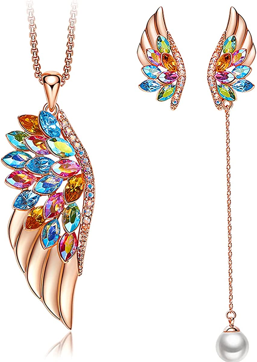 EONFUN Rose Gold Jewelry Sets for Women Angel Wing Pendant Necklaces Earrings