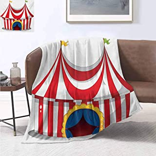 jecycleus Circus Children's Blanket Illustration of Retro Circus with Flag Nostalgic Fun Festival Carnival Venue Artistic Lightweight Soft Warm and Comfortable W70 by L70 Inch Red White