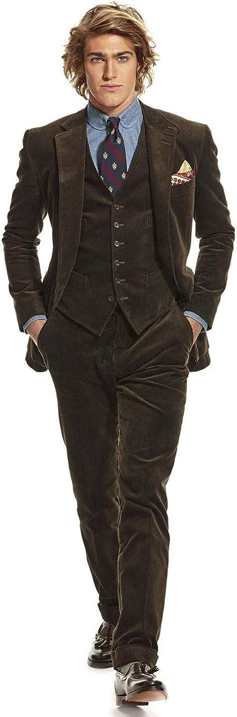 Mens Corduroy Dark Chocolate Brown 3 Pieces Slim Fit Party Prom Suit Tuxedo Jacket Vest Pant