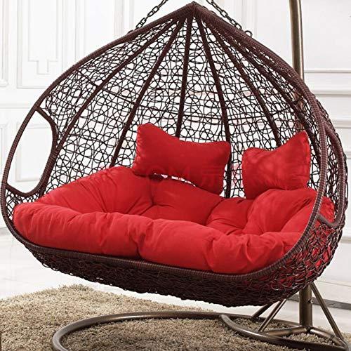 DSQIANG - Altalena spessa, doppio cuscino per seduta, a forma di uovo sospeso, tinta unita, cuscino per sedia senza piedini, stampa staccabile, cuscino per sedia