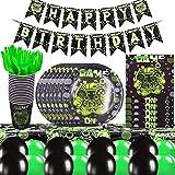 BAIBEI Set di Articoli per Feste Gioco Serve 16 Ospiti Party Decorazione per Ragazzi Compleanno Favors del Partito Piatti Tovaglioli Copritavolo Coppe Cannucce Striscioni Palloncino