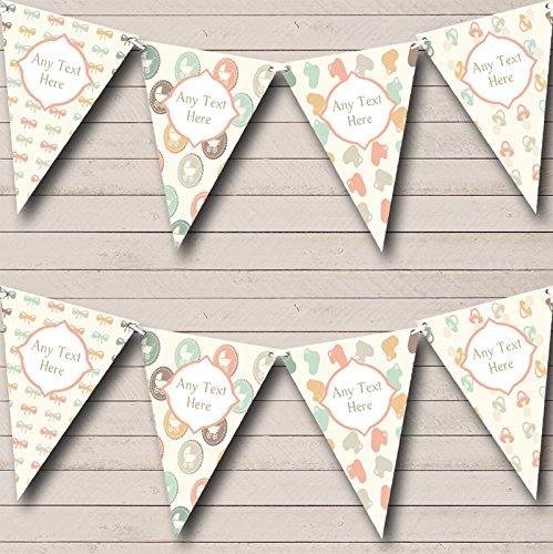 Neutral Pram Bows Personalised Baby Shower Bunting Banner Garland