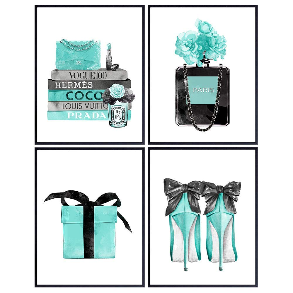 Tiffany Blue - Glam Wall Art - Designer Perfume, Shoes, Handbags - High Fashion Design Gift for Fashionista - Luxury Couture Wall Decor Poster Print Picture Set for Women, Girls Bedroom, Teens Room