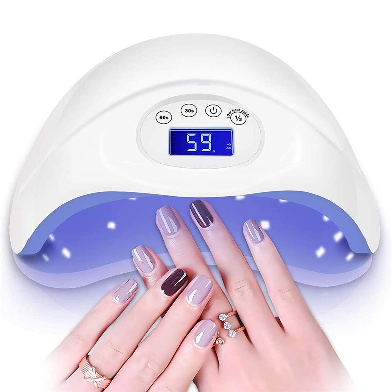 登録する以上傑作48W UVネイルランプ、自動センサーと爪または足の爪用のスイッチを備えたネイルドライヤー、ジェルネイル用のプロフェッショナルUVライト、サロンまたはネイル愛好家向けのタイマー設定
