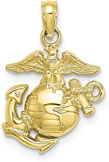 FB Jewels 10K Yellow Gold X Sml. Marine Corps Symbol 2D (Eagle Globe and Anchor) Pendant