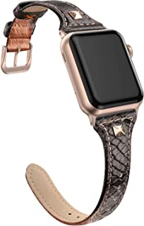 SWEES Genuine Leather Band Compatible for Apple Watch 38mm 40mm, Slim Thin Dressy Design Bling Rivet Stud Bands Strap Compatible for iWatch Series 5, 4, 3, Sports & Edition Women, Snake