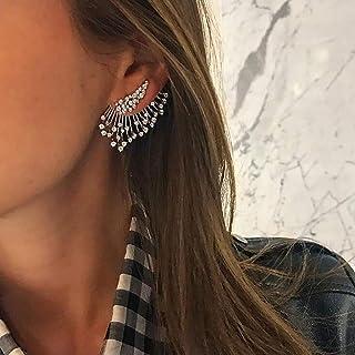 Women Alloy Multi-drill Earrings Asymmetric Multi-layer Earrings Single Earrings