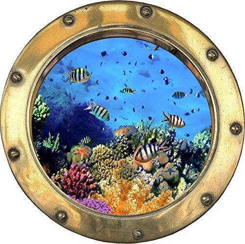 Wandtattoo Bullauge mit Fischen, optische Täuschung, 20x20cm