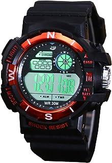 子供のためのデジタル腕時計 - 警報/LEDライトが付いている屋外スポーツのアナログ時計、ジュニアのティーンエイジャーのための子供の電子衝撃抵抗の腕時計,Orange