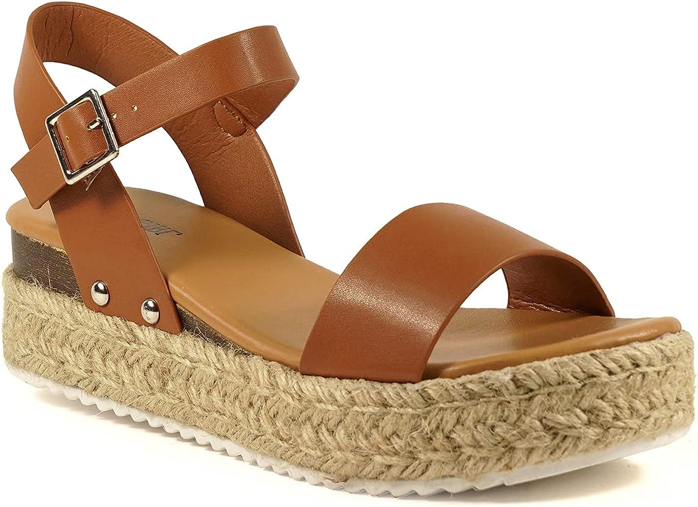COZZY GIRL Hope Women Platform Jute Woven Wedges Sandals Ankle Strap Open Toe Casual Sandals