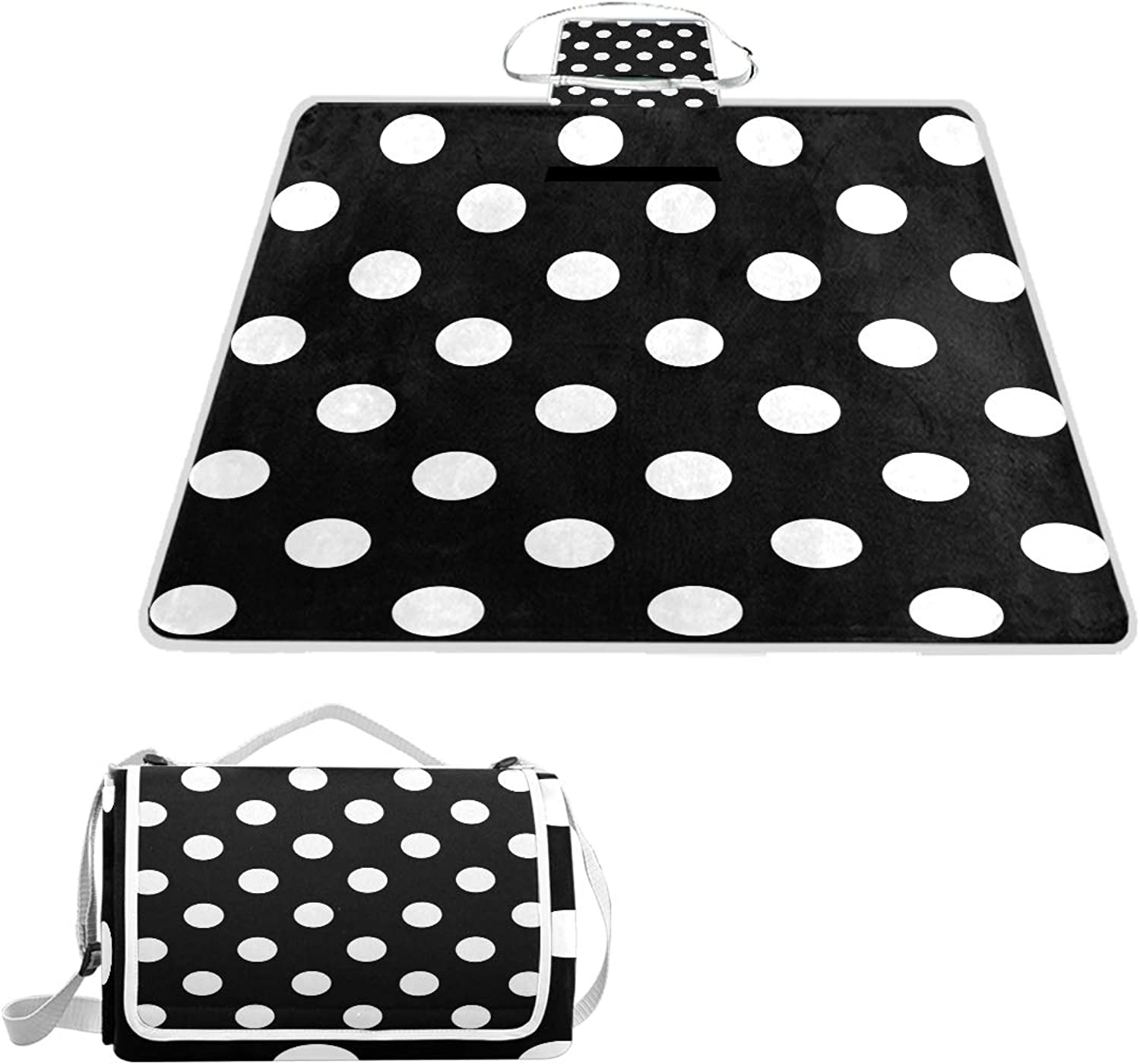 MASSIKOA Black White Dots Picnic Blanket Waterproof Outdoor Blanket Foldable Picnic Handy Mat Tote for Beach Camping Hiking