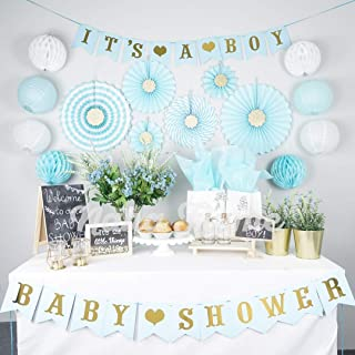 Boy Baby Shower Decorations for Boy | Its a Boy Baby Shower Party Supplies | 35pc Blue and Gold Baby Boy Shower Decorations | Baby Shower Boy | Baby Shower Decor | Boy Baby Shower Elephant Style