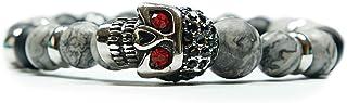 Skulls and Spirits - Phönix Jaspe - Pulsera con cranio de acciaio inossidabile y semipreciosas de ónix y jaspe (hecho en E...