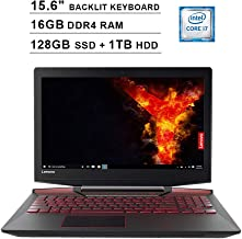 2019 Lenovo Legion Y720 15.6 Inch FHD 1080P Gaming Laptop (Inter Quad-Core i7-7700HQ up to 3.8GHz, 16GB DDR4 RAM, 128GB SSD (Boot) + 1TB HDD, GeForce GTX 1060 6GB, Backlit KB, Windows 10) (Black)