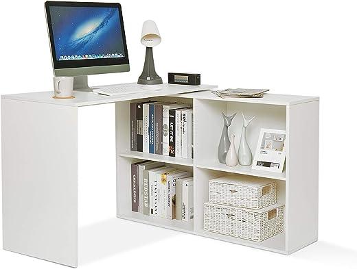 Mondeer Eckschreibtisch, Computertisch L-Förmig mit 4 Ablagen Großer Umkehrbarer Winkel Links/Richtig 106 x 106 x 74,5cm fürs Arbeitszimmer…