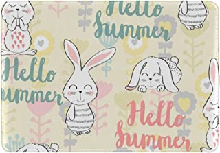 Mydaily Rabbit Bunny Flower Hello Summer Leather Passport Holder Cover Case Protector