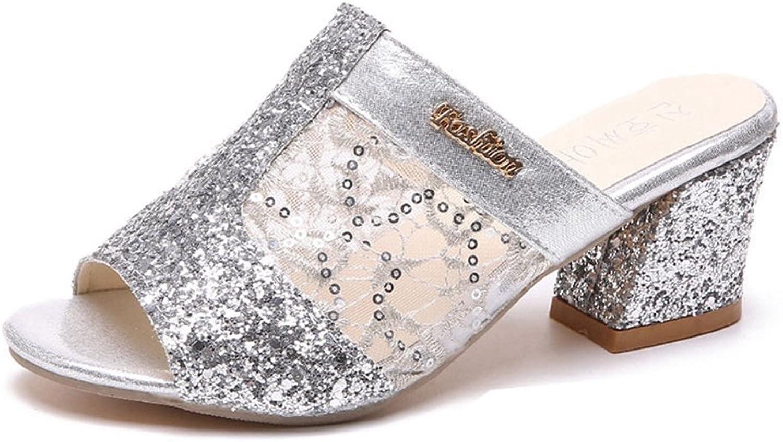 GIY Women's shoes Cutout Slip On Peep Toe Chunky Heel Mule Clog Platform Sandals Slide Slipper Mule