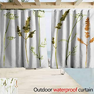 XXANS Blackout Lining Curtain Watercolor Wild Flowers Herbs and Twigs Wilderness Untamed Plants Ecological Art,W108x72L Inches,Complete Darkness, Noise Reducing Curtain Vermilion Dark Green