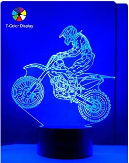 WANTASTE Motocross 3D Lamp Gifts for Boys Girls Room, Dirt Bike Decor Toys Night Light Bedside Gifts for Kids Baby Birthday, 7 Colors Changing Nightlight with Battery Backup and Smart Control