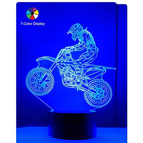 WANTASTE 3D Motocross Lamp Optical Illusion Night Light For Room Decor Nursery Cool