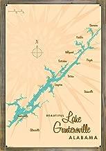Lake Guntersville Alabama Vintage-Style Map Metal Print on Reclaimed Barn Wood by Lakebound (24