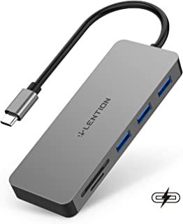 LENTION USB C Hub with 3 USB 3.0, SD/Micro SD Card Reader and Charging Adapter Compatible 2020-2016 MacBook Pro 13/15/16, ...