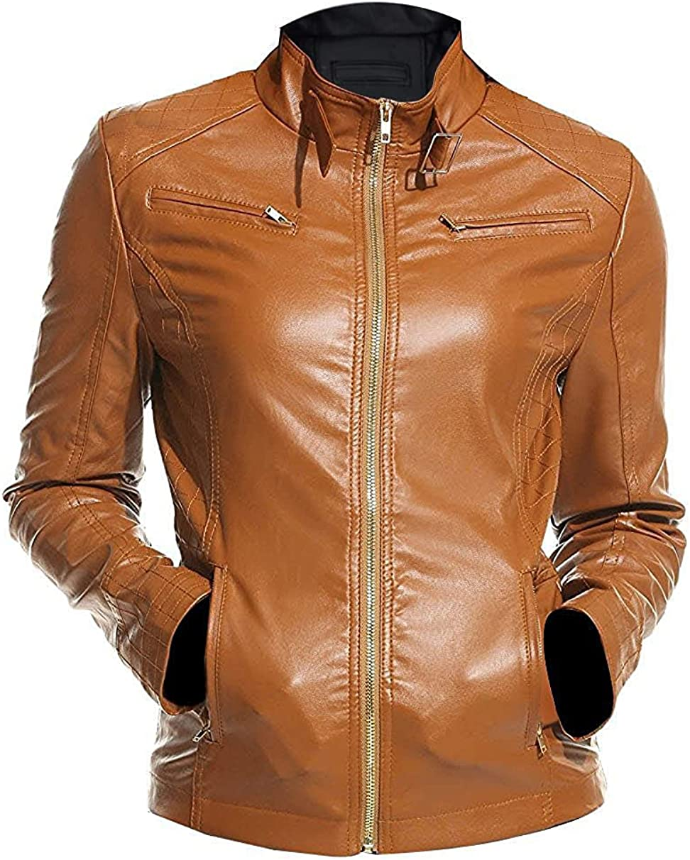 Fashionsta Craze Quilted Biker Faux Leather Jacket for Women - Camel Faux Leather Jacket
