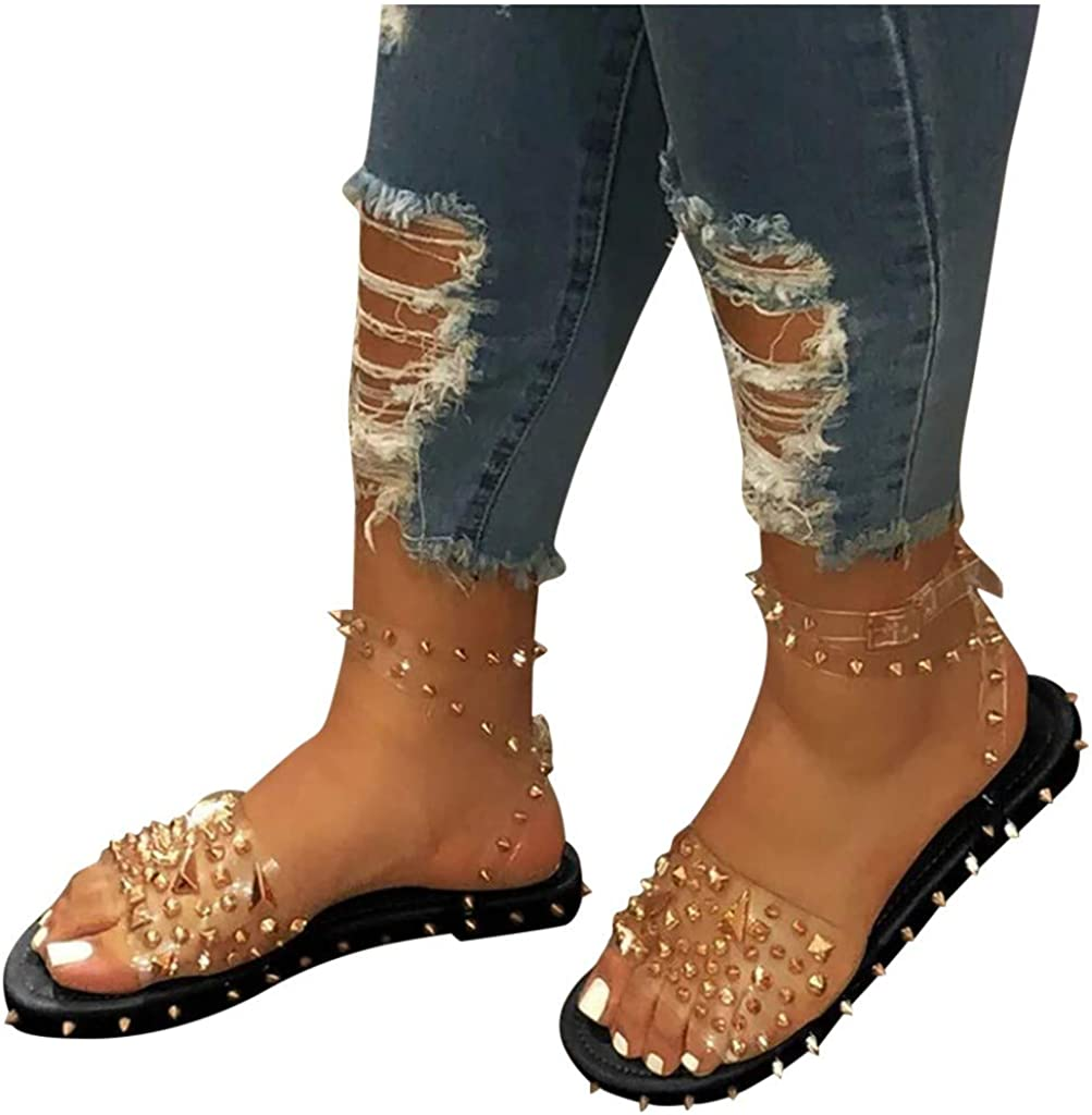 Sandals for Women Flat Summer Cute Vintage Ankle Strap Line-Style Buckle Open Toe Flat with Rivet Shoeby Poyxiany