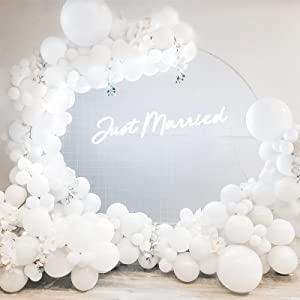 White Balloon Garland Kit 115PCS White Latex Balloons Arch Wedding Baby Shower Party Decors with 18inch Large Balloons for Girls Women Engagement Bridal Shower Birthday Bachelorette Backdrop