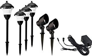 Gardenline 7 Piece LED Pathway Lighting Set, Automatic lighting, Easy-To-Install, Spotlights and Pathway Lights