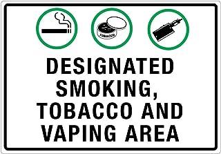 "VinMea Warning Metal Sign Designated Smoking/Tobacco/Vaping Area – Wall Sign 12""x18"""