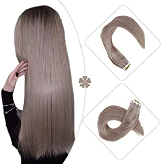 Hetto 18 Inch Tape on Brazilian Remy Hair Tape in Extensions 40 Pieces 100 Grams #18 Ash Blonde Human Hair Extensions Glue in Full Head Adhesive Skin Weft Remi Human Hair Tape Extensions