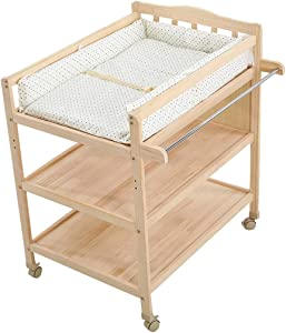 Diaper Changing Tables Baby Diaper Table Multifunctional Solid Wood Paint-Free Baby Touch Massage Bathing Clothes Storage Care Table Wheeled