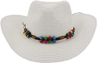Lady's Sun hat 2019 Wheat Cowboy Hat Sun Hat Fedora Hat Outside Beach Hat Sun Hat Colorful Beads Sun hat (Color : White, Size : 56-58CM)