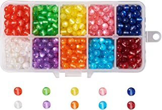 Kissitty 800pcs/Box 10 Color Cat Eye Loose Beads Acrylic Round Spacers 6mm for Bracelets Necklace Anklets DIY Jewelry Making