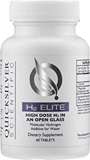 Quicksilver Scientific H2 Elite Tablets - High Dose Molecular Hydrogen Water Additive for Energy Support, Perfect for Open Containers (60 Dissolving Tablets)