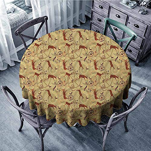 ScottDecor summer Round tablecloth Circular Table Cover Southwestern,Native Pattern Inspired by Caveman Drawings Prehistoric Art and Culture, Pale Yellow Brown diameter 128 cm