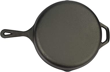 Yarlung 10 Inch Cast Iron Skillet with Glass Lid and Heat-Resistant Silicone Handle, Pre-Seasoned Frying Pan Safe Cooker for