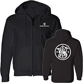 S&W Circle Emblem Zip Up Hoodie in Black - Officially Licensed