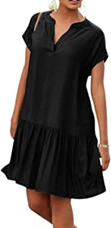 LilyCoco Vestidos Mujer Verano Vestidos Fiesta Playa Casual Mujer Manga Corta Vestido Verano Mujer Estido Mini Suelta Sexy...