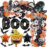 Halloween Balloon Garland Kit, 112 Pcs Black Orange Confetti Star Balloon Arch...