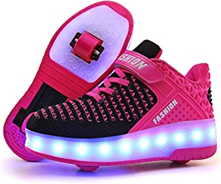 Knnnen USB Chargable Double Roller Shoes Skate Shoes for Boys Girls Kids with Two Wheels