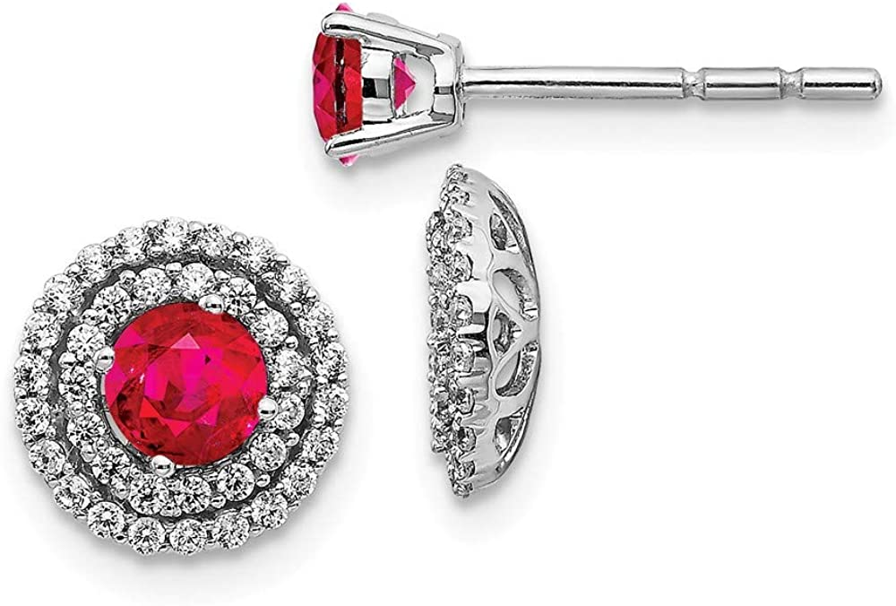 14k White Gold Diamond Red Ruby Stud Jacket Earrings Ball Button Birthstone July Fine Jewelry For Women Gifts For Her