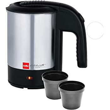 Cello Quick Boil 700 Stainless Steel Electric Kettle, 0.5 Litre (Black/Silver)