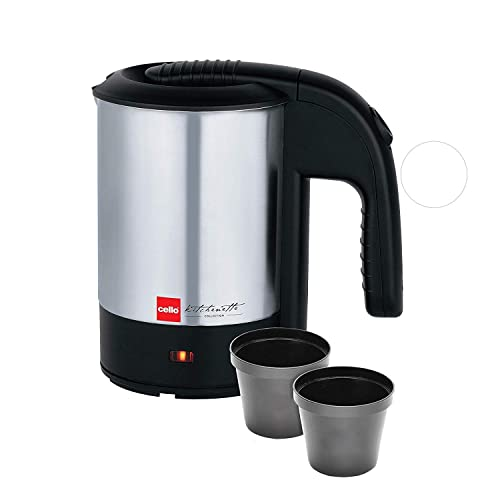 Cello Quick Boil 700 Electric Stainless Steel Kettle with 2 Travel Cups, 500ml, 1000W, Black/Silver