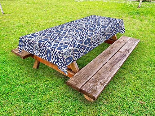 ABAKUHAUS Marokkaans Tafelkleed voor Buitengebruik, Oude Retro Tegels, Decoratief Wasbaar Tafelkleed voor Picknicktafel, 58 x 84 cm, Grijs blauw